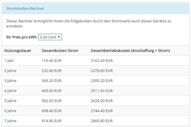Stromkostenrechner bei Gastro-Seller.de